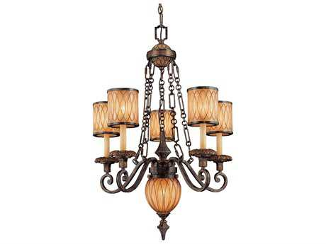 Metropolitan Lighting Terraza Villa Aged Patina with Gold Leaf Accents Six-Lights 27'' Wide Chandelier
