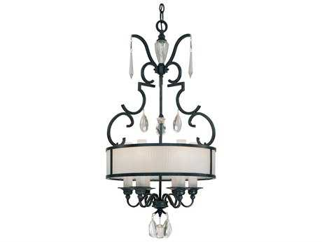 Metropolitan Lighting Castellina Castellina Aged Iron Six-Lights 22.5'' Wide Pendant Light