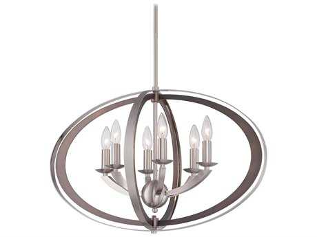 Metropolitan Lighting Ironsights Brushed Nickel Six-Lights 16'' Wide Chandelier