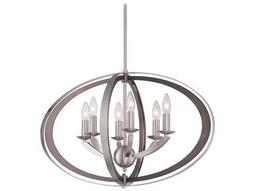 Ironsights Brushed Nickel Six-Lights 16'' Wide Chandelier