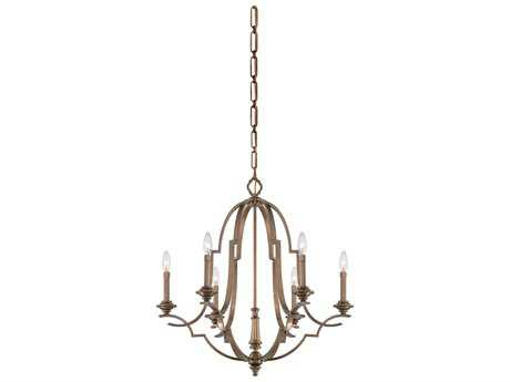 Metropolitan Lighting Leicester Aged Brass Six-Lights 29'' Wide Chandelier