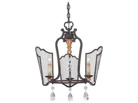 Metropolitan Lighting Cortona French Bronze with Gold Highlight Three-Lights 19'' Wide Pendant Light