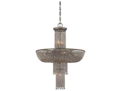 Metropolitan Lighting Shimmering Falls Antique Silver 12-Lights 24'' Wide Chandelier