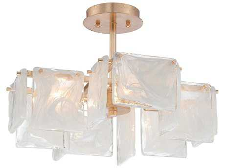 Metropolitan Lighting Arctic Frost Antique French Gold Four-Lights 20'' Wide Semi-Flush Mount Light