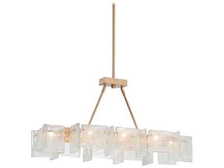 Metropolitan Lighting Arctic Frost Antique French Gold Eight-Lights 37.5'' Long Island Light