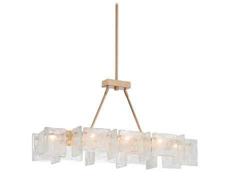 Metropolitan Lighting Arctic Frost Antique French Gold Eight-Lights 37.5'' Long Island Light