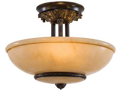 Metropolitan Lighting Antique Oxidized Bronze Three-Lights 16'' Wide Semi-Flush Mount Light