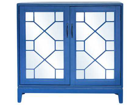 Moe's Home Collection Indochine Blue Low Cabinet with Mirrored Doors MEVT100126