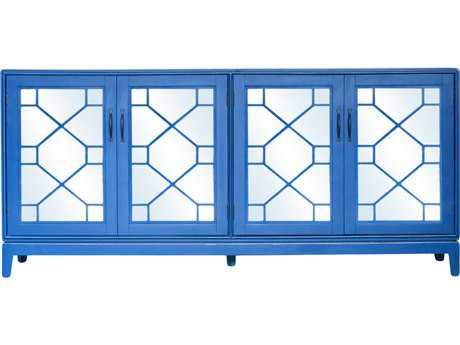 Moe's Home Collection Indochine Blue Long Cabinet with Mirrored Doors