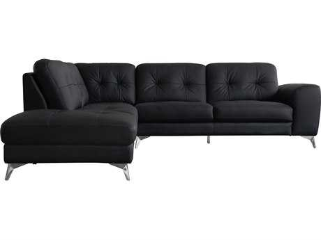 Moe's Home Collection Harlow Left-Facing Black Leather Sectional
