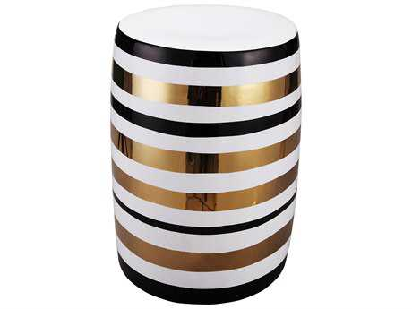 Moe's Home Collection Pharoah White and Gold Accent Stool