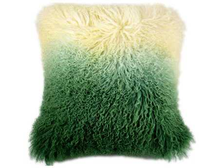 Moe's Home Collection Lamb Fur Light Green Spectrum Pillow