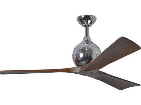Matthews Fan Company Irene Polished Chrome & Walnut Tone 52'' Wide Three-Blade Indoor Ceiling Fan