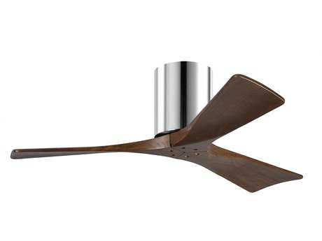 Matthews Fan Company Irene-H Polished Chrome & Walnut Tone 42'' Wide Three-Blade Indoor Ceiling Fan