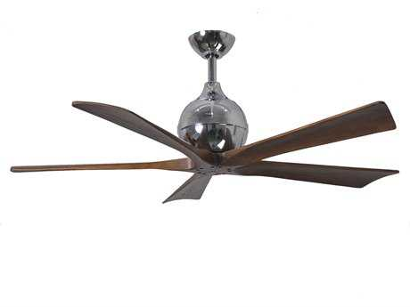Matthews Fan Company Irene Polished Chrome & Walnut Tone 52'' Wide Five-Blade Indoor Ceiling Fan