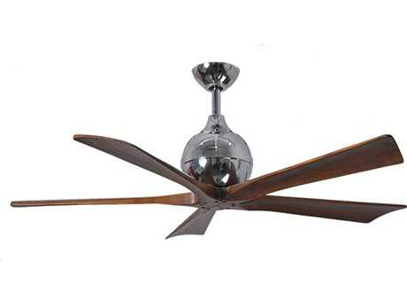 Matthews Fan Company Irene Polished Chrome & Walnut Tone 42'' Wide Five-Blade Indoor Ceiling Fan