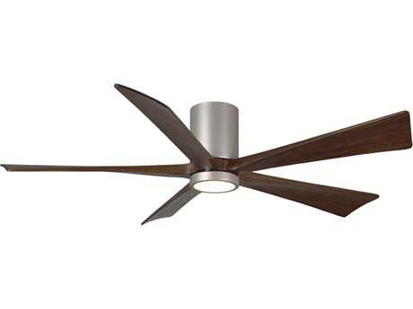 Matthews Fan Company Irene Brushed Nickel 52'' Wide Five-Blade Flush Mounted Indoor Ceiling Fan with LED Light Kit