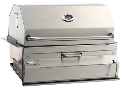 Fire Magic Charcoal Stainless Steel 30'' Built-in BBQ Grill with Smoker Oven Hood PatioLiving