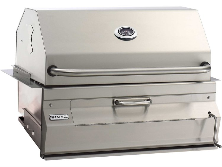 Fire Magic Charcoal Stainless Steel 30'' Built-in BBQ Grill with Smoker Oven Hood