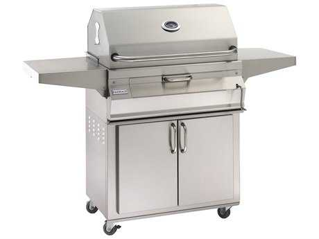 Fire Magic Charcoal Stainless Steel 30'' Cart BBQ Grill with Smoker Oven Hood PatioLiving