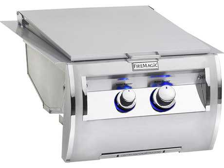 Fire Magic Echelon Stainless Steel Diamond Built-In Double Searing Station Side Burner PatioLiving