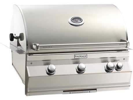 Fire Magic Aurora Built in Grill with Single Side Burner and Rotisserie Backburner