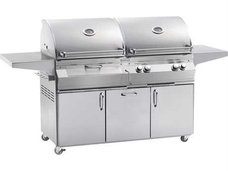 Fire Magic Aurora Dual Natural Gas And Charcoal BBQ Grill With Rotisserie On Cart