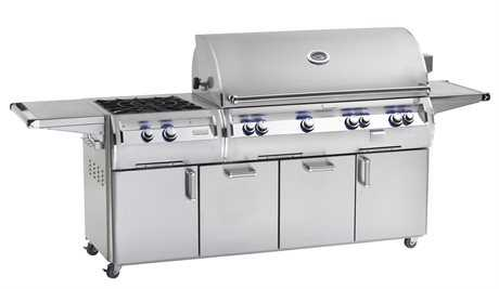 Fire Magic Echelon Diamond Stainless Steel 48'' On Cart Analog Patio BBQ Grill with Power Burner PatioLiving