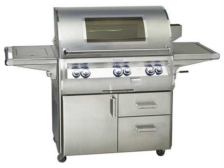 Fire Magic Echelon Diamond Stainless Steel 36'' On Cart Analog Magic View Patio BBQ Grill with Single Side Burner