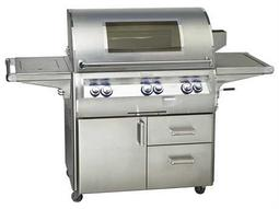 Echelon Diamond Stainless Steel 36'' On Cart Analog Magic View Patio BBQ Grill with Single Side Burner