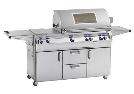 Fire Magic Echelon Diamond Stainless Steel 36'' On Cart Analog Magic View Patio BBQ Grill with Double Side Burner