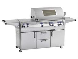 Echelon Diamond Stainless Steel 30'' On Cart Analog Magic View Patio BBQ Grill with Double Side Burner