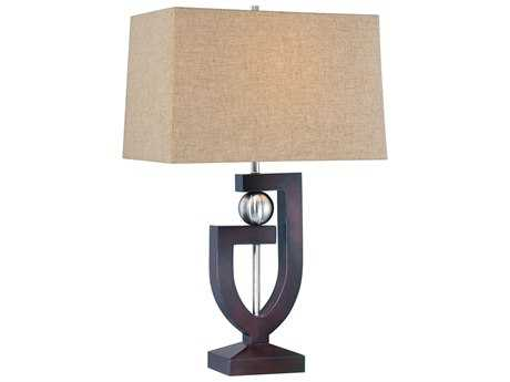 Minka Lavery Dark Brown Wood & Brushed Nickel Buffet Lamp