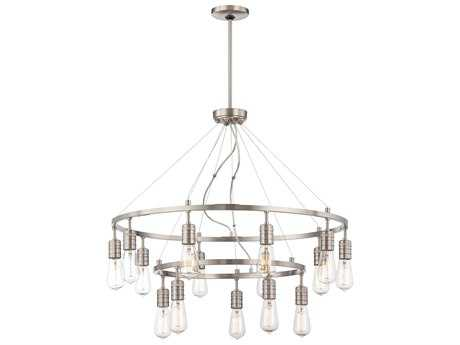 Minka Lavery Downtown Edison Brushed Nickel 31'' Wide 15-Light Chandelier