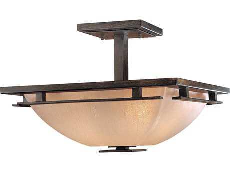 Minka Lavery Lineage Iron Oxide 15.5'' Wide Two-Light Semi-Flush Mount Light