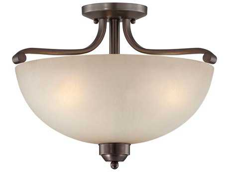 Minka Lavery Paradox Harvard Court Bronze 17'' Wide Three-Light Semi-Flush Mount Light