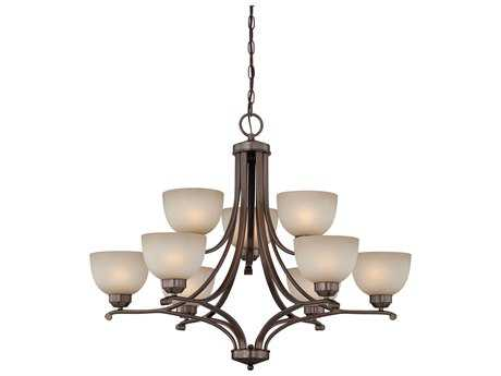 Minka Lavery Paradox Harvard Court Bronze 34'' Wide Nine-Light Chandelier