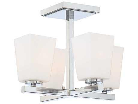 Minka Lavery City Square Chrome 14'' Wide Four-Light Semi-Flush Mount Light