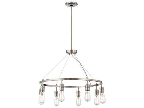Minka Lavery Downtown Edison Brushed Nickel 27'' Wide Eight-Light Chandelier