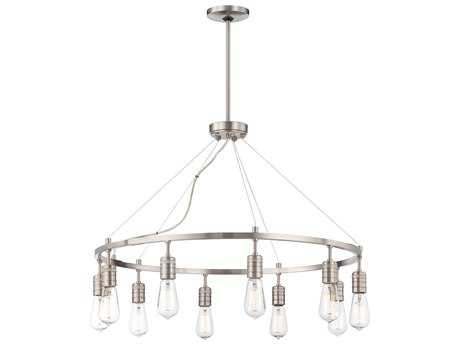 Minka Lavery Downtown Edison Brushed Nickel 31'' Wide Ten-Light Chandelier