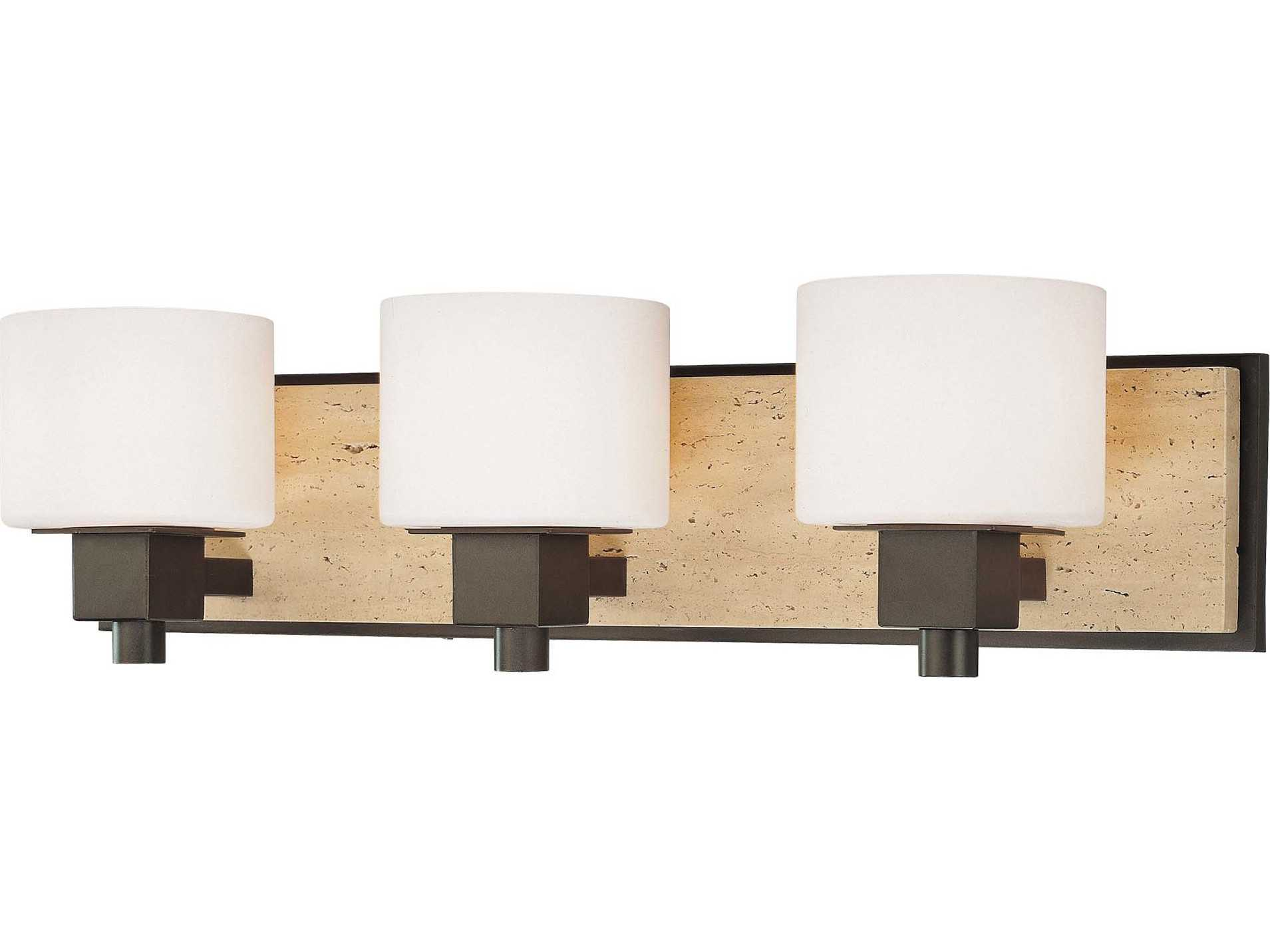 Vanity Lights Stone : Minka Lavery Travertine Aged Stone with Unfilled Travertine Accent Three-Light Vanity Light ...
