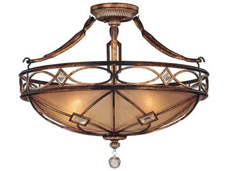 Minka Lavery Aston Court Bronze 24.5'' Wide Three-Light Semi-Flush Mount Light