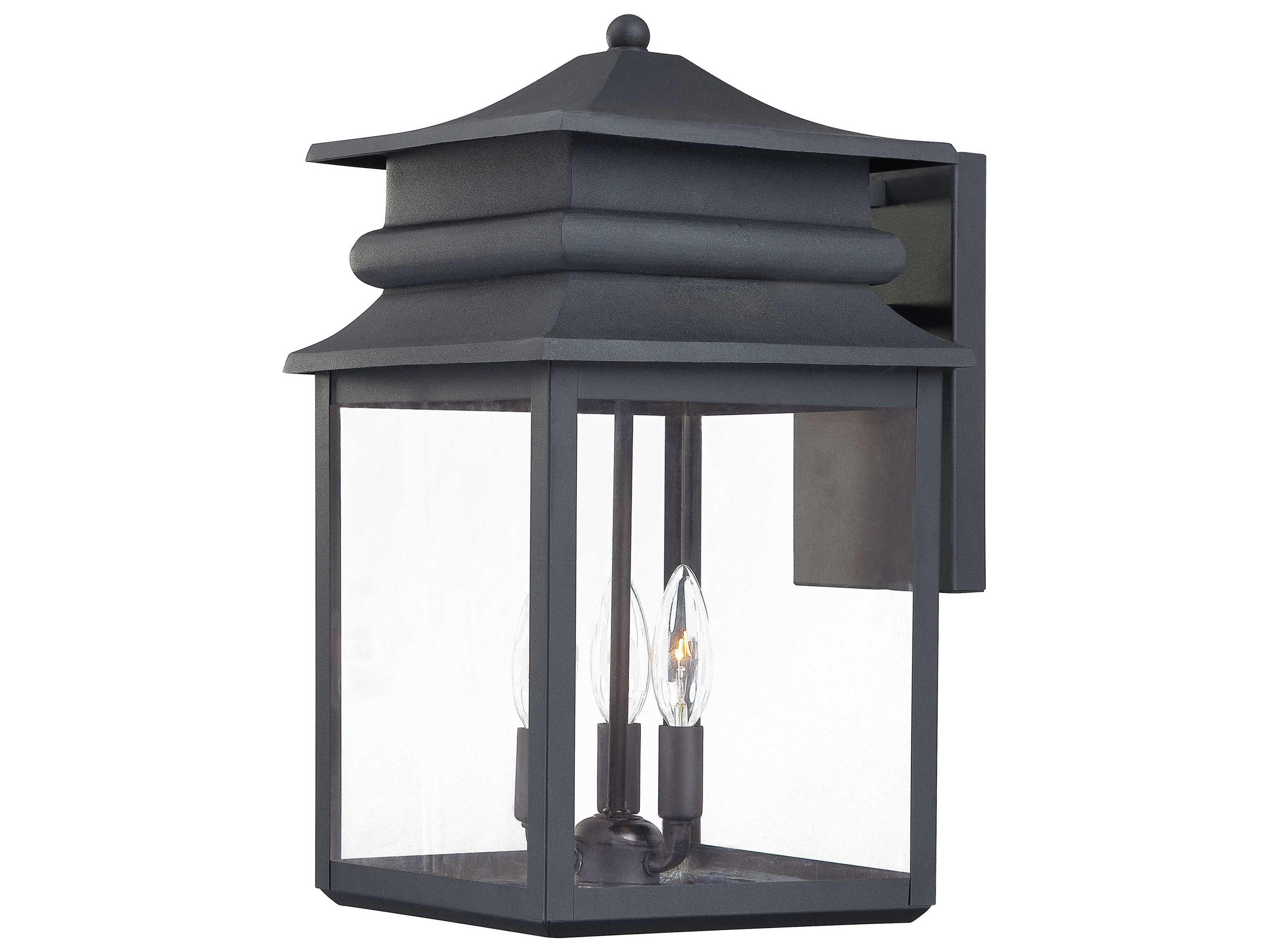 Minka lavery winward manor black three light outdoor wall for Manor house landscape lighting