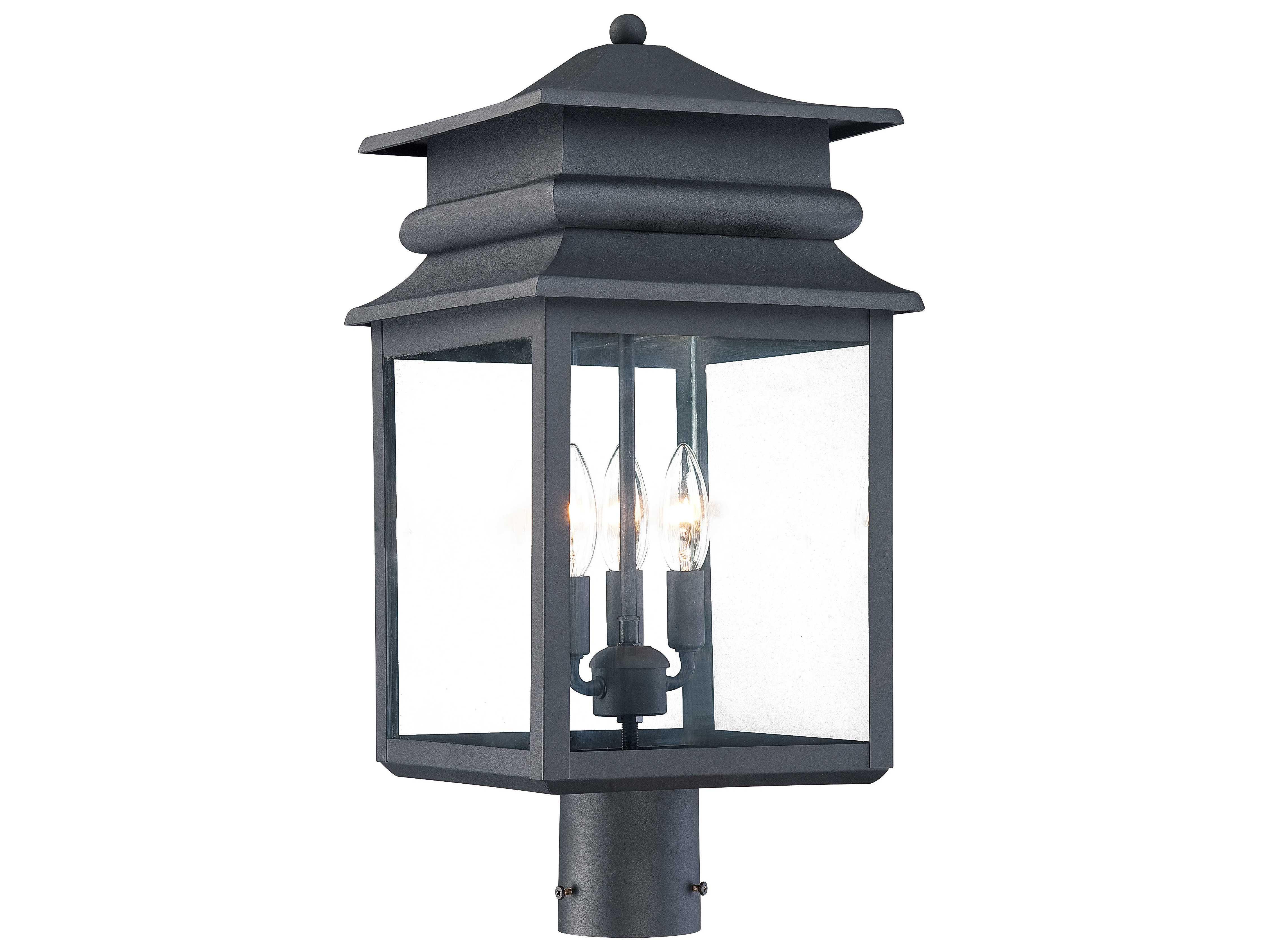 Minka Lavery Winward Manor Black Three Light Outdoor Post