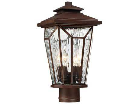 Minka Lavery Satomi Alder Bronze Four-Light Outdoor Lantern Post Light