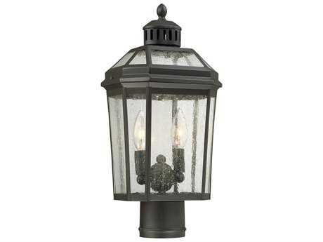 Minka Lavery Hawk's Point Oil Rubbed Bronze Two-Light Outdoor Lantern Post Light