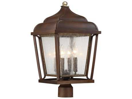 Minka Lavery Astrapia Dark Rubbed Sienna with Aged Silver Four-Light Outdoor Lantern Post Light