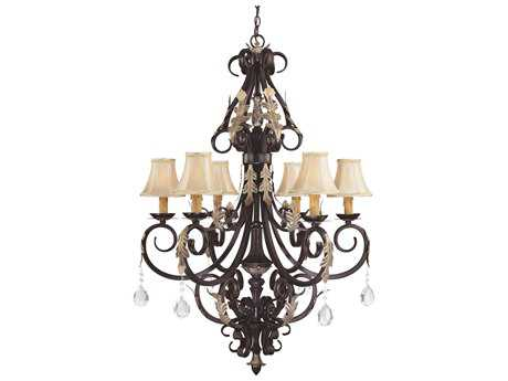 Minka Lavery Bellasera Castlewood Walnut with Silver Highlights 31.5'' Wide Six-Light Chandelier