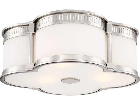 Minka Lavery Polished Nickel Three-Lights 16'' Wide Flush Mount Light