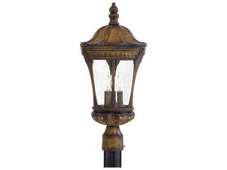 Minka Lavery Kent Place Prussian Gold Three-Light Outdoor Post Light